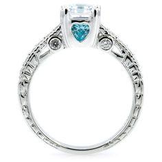Shayla's Asscher Cut CZ Engagement Ring - Aqua Heart CZs