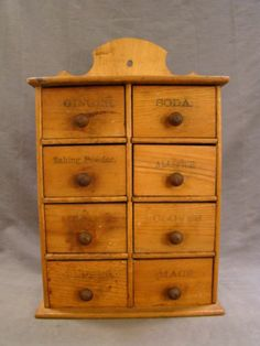 16.5in tall x 10.75in across x 5in deep. Antique PRIMITIVE Wood EDWARDIAN Era SPICE CABINET Old 8-Drawer FOLK ART CHEST