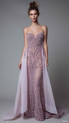 berta rtw fall 2017 (17 12) illusion strapless sweetheart sheath beaded evening dress with overskirt mv -- Berta Fall 2017 Ready-to-Wear Collection