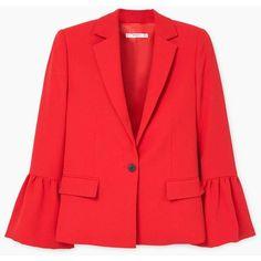 MANGO Flared sleeve blazer (6.895 RUB) via Polyvore featuring outerwear, jackets, blazers, mango jackets, red blazer jacket, bell sleeve jacket, mango blazer и blazer jacket