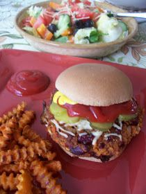 Vegetarian Chili Burgers NOTE: used frozen carrots, thawed in microwave, chopped and then added to skillet. Used stick blender to combine all but oats. Formed parties and put on cookie sheet. Baked @425 for 20 mins