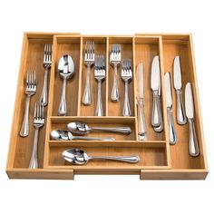 Bamboo Expandable Cutlery Drawer Organizer by HMP fits beautifully in a kitchen drawer and expands to meet all your storage needs—courtesy of Miles Kimball. Storage Ideas, Storage Spaces, Buy Bamboo, Kitchen Drawers, Drawer Organisers, Cutlery, Meet, Organization, Home