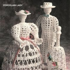 Victorian Porcelain Thread Man Lady and Bell | BeadedBundles