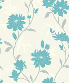 Shop Eleganza, Quality wallpaper, Smooth vinyl finish, Floral (Red) FREE PASTE INC. Vinyl Wallpaper, Wallpaper Roll, Pattern Wallpaper, Teal Flowers, Shade Flowers, Teal Flower Wallpaper, Crown Drawing, Table Flower Arrangements, Wedding Dresses With Flowers