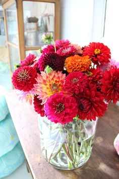 pink zinnias & dahlias - Potted plants on table . . . Colorful and practical!