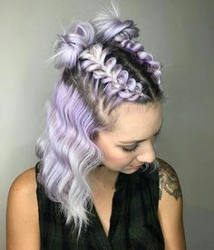 Plaited space buns pastel purple and grey hair