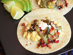 Start your morning with these breakfast tacos with charred zucchini and red pepper #recipe