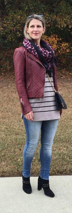 Teodora's Lookbook - burgundy leather jacket, stripes and black booties