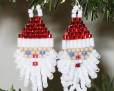 Santa Earring Pattern_Brick Stitch_Christmas Earrings_Beaded_Tutorial