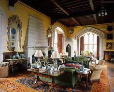 The large hall at Arundel Castle has been transformed into a comfortable living room with the use of a warm colour palette French Country House, Country Houses, British Country, Country Life, Country Style, English Manor, English Estates, English Style, French Style