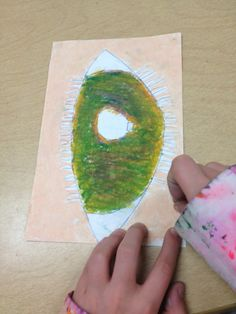 Before she left us, my student teacher had the fourth graders whip through a quick two-day drawing/oil pastel resist/creepy eyeball extravag...