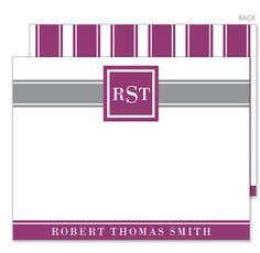 Personalized Framed Plum and Grey Band Flat Note Cards
