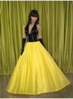 Vestido de fiesta flúor en amarillo y negro - Fluor prom dress in yellow and black