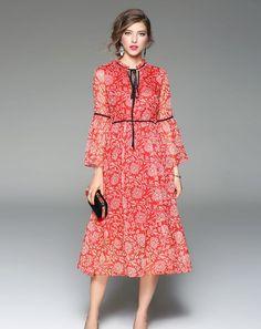 #AdoreWe #VIPme Designer Shift Dresses - Designer ZERACO Red Chiffon Sheer Bell Sleeve Midi Dress - AdoreWe.com