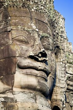 ✮ Large stone face in the Bayon - Angkor Thom, Cambodia Ancient Ruins, Ancient Artifacts, Ancient Rome, Buddhist Architecture, Ancient Architecture, Laos, Angkor Wat Cambodia, Around The World In 80 Days, Old Stone