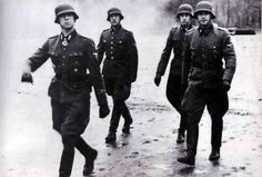 "Kurt Meyer and officers of the 12th SS panzer division ""Hitlerjugend"""