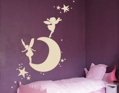 Wall decal - Moon with Fairies -- So cute! Molly would love this.