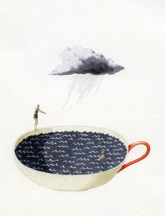 Laura Stoddart- Storm in a tea cup simple contemporary surreal watercolour illustration graphic style print Art And Illustration, Illustrations Posters, Storm In A Teacup, Grafik Design, Oeuvre D'art, Mail Art, Painting & Drawing, Illustrators, Graphic Art