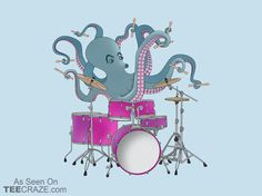 Octopus Playing Drums T-Shirt - http://teecraze.com/octopus-playing-drums-t-shirt/ - Designed by Ornaart #tshirt #tee #art #fashion #clothing #apparel