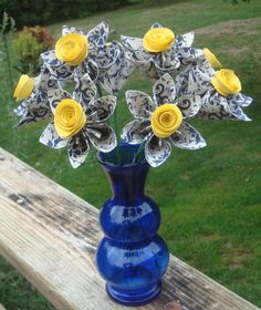 Origami  paper Flowers  Blue and Yellow In by SweetPeasFlorals, $23.00