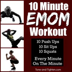 """10-minute at-home workout! 3 awesome exercises """"every minute on the minute"""" for a total-body shredder! From Tone-and-Tighten.com"""