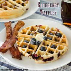 A tradition at out house is breakfast in bed on Mother's Day. It started years ago when my husband made breakfast in bed and decided to include my daughter. Blueberry Waffles, Pancakes And Waffles, How To Make Breakfast, Breakfast In Bed, Breakfast Recipes, Breakfast Ideas, Kitchen Recipes, Baking Soda, Brunch