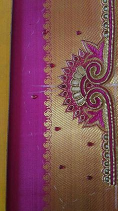 Hand Work Blouse Design, Simple Blouse Designs, Saree Blouse Neck Designs, Bridal Blouse Designs, Hand Work Embroidery, Hand Embroidery Designs, Maggam Work Designs, Patch Design, Hand Designs