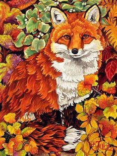 Fall Fox - Montana Wildlife Paintings and Fox Paintings Wildlife Paintings, Animal Paintings, Cute Drawings, Animal Drawings, Animal Illustrations, Koi Painting, Fox Crafts, Fantastic Mr Fox, Fox Decor