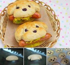 Take your favorite biscuit dough. Shape into flattened rolls. (bottom pic on left) Clip at the sides to make the ears. (center bottom pic) Add raisins for eyes and nose. (bottom right pic) Bake until golden brown per your recipe's instructions. Let cool. When cool cut a slit into biscuit for mouth, being careful not to cut all the way across. Add a cooked hot dog or sausage into mouth of dog along with some mustard or relish. So cute for an animal themed party!