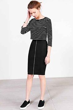fitted zipper front skirt with striped top and slip on sneakers