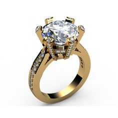 Pavé six-prong Kings Diamond Engagement Ring in 18K Yellow gold (2.1/3 ct. tw.) - Solitaire Diamond Rings