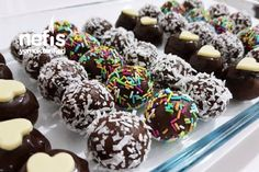 Şipşak Renkli Toplar Desert Recipes, Toffee, Granola, Doughnut, Tiramisu, Tart, Deserts, Food And Drink, Cookies