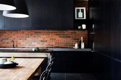 Example Of A Mid Sized Traditional L Shaped Eat In Kitchen In Boston With An Undermount Sink And Raised Panel Cabinets And Dark Wood Cabinets And Granite Countertops And Gray Backsplash And Glass Tile Backsplash And Stainless Steel Appliances And An Island Plus Brick Wall Design And Chrome Farmhouse Style Swivel Faucet With Contemporary Kitchen Furniture With Tatum Modern Side Board And Bar Storage With Black Kitchen Red Brick Wooden Table Breakfast Nook Exposed Wall Uncovered Wall Brick…