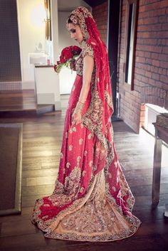 Top 20 Most Beautiful Bridal Wear Red Lehenga Designs 2017 for Wedding Brides - The Beauty Look Pakistani Wedding Dresses, Pakistani Outfits, Indian Dresses, Indian Outfits, Punjabi Wedding, Red Lehenga, Bridal Lehenga, Lehenga Choli, Choli Dress