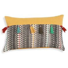 A stand-out cushion! Yellow with a black and white print | AMAL multicoloured cotton cushion cover with tassels | Maisons du Monde | Havana Nights