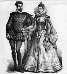 Spanish Court Costumes in 1550.