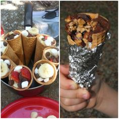 CAMPFIRE CONES - Choc chips, marshmallows, strawberries, peanut butter, nuts, bananas + anything else you can think of stuffed into a waffle cone. Wrap in tinfoil & cook over the fire.