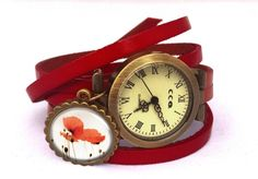 Leather watch bracelet - Poppies, 0165WR6 from EgginEgg by DaWanda.com