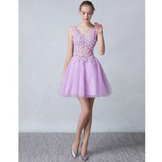 2017 Light Purple White V-Neck Sleeveless Short Homecoming Dresses Applique Lace A-Line Tulle For Graduation Prom Gown