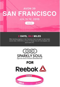 Who will be at the @AVON39 The Walk to End Breast Cancer in San Francisco, California this weekend? Let us know below in the comments and come visit @sparklysoulinc with the incredible @Reebok team! Sparkly Soul Headbands and Reebok have teamed up for exclusive Sparkly Soul for Reebok Neon Pink Avon 39 The Walk to End Breast Cancer Sparkly Soul Headband - click here to purchase this headband http://m.reebok.com/us/sparkly-soul-avon-39-headband/AN8018.html