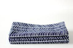 Set of 4 Cloth Table Napkins / White Herringbone on Navy by SUZUYA, $15.00