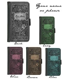 CUSTOMIZED with name or phrase Book of Spells by RedPhoenixAcc - $22 S3 leather wallet style in dusk!