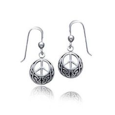 Bling Jewelry Peace Sign Celtic Knotwork Drop Earrings 925 Sterling Silver ** Read more  at the image link.