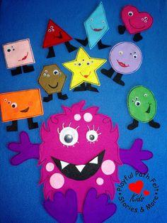 Shape Monster, Felt Board Story Set, ECE, Preschool, Circle Time, Felt, Flannel, Story Time, Teacher, Resource, Shapes, Song by PlayfulPathFelts on Etsy https://www.etsy.com/ca/listing/544232814/shape-monster-felt-board-story-set-ece