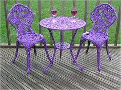 Gloss Purple Cast Aluminium Garden Furniture Bistro Set Round - after a bistro set for my garden Purple Furniture, Colorful Furniture, Lawn Furniture, Furniture Ideas, Furniture Design, Outdoor Furniture, Purple Home, Shades Of Purple, Magenta