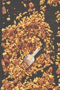 SIMPLE Pumpkin Pecan Granola naturally sweetened with maple syrup and LOADED with pecans and pepitas!! #vegan #glutenfree