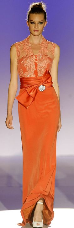 Lovely orange silk and lace evening dress by Franc Sarabia SS 2015