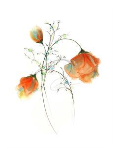 Fiel expresión acuarela lámina rosas rojas flores por oladesign