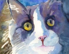 Tuxedo Cat Art Print van originele aquarel schilderen 11 x 14