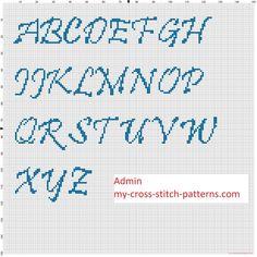 Abecedario punto de cruz ponto cruz Pristina en mayúsculas altura 30 puntos